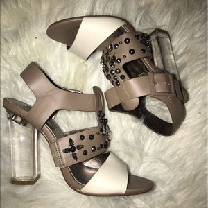 Shoes - White gray clear heels